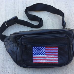Vintage 90's Leather American Flag Fannypack